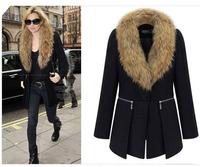 Fashion Women's winter thick fur long down jacket large fur collar down jackets cotton-padded Black  plus size free shipping