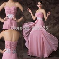 Grace Karin Fashion Elegant Lady Strapless Pink Evening Dress Long Chiffon Formal Gowns CL6202