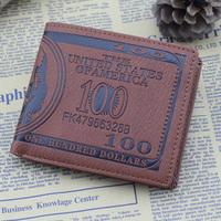 2014 New Fashion 1 Piece 100 USD Dollar Bill Money Wallet Male's Purse Card&ID Holder Creative purse wallet