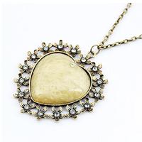 Wholesale New Fashion Vintage casual style Metal flower rhinestone Opal Heart Pendant Necklace Statement jewelry women 2014 PT33