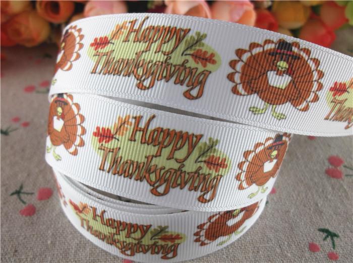 "New arrival 1"" (25mm) printed grosgrain ribbons thanksgiving ribbon hair accessories 20 yards WQ14090817(China (Mainland))"