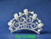 2014 New Fashion Wedding Bridal Pearl Crystal Rhinestone Flower Crown Headband Jewelry Tiara Hair Comb Clip G0015