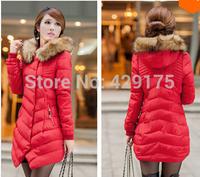 2014 Women's Down & Parkas Cotton Jacket Female Cotton-padded Coat Winter Medium Long Large Fur Collor With Hoody Plus M-3XL