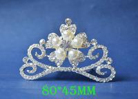 2014 New Fashion Wedding Bridal Pearl Crystal Rhinestone Crown Headband Jewelry Tiara Hair Comb Clip G0013
