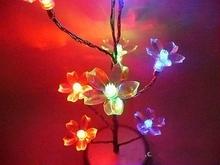 S00751 Shiny Peach Flowers Pendant Mini Tree Night Light LED Nightlight Christmas Gift Home Decorate Festival Decoration Lamps(China (Mainland))
