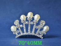 2014 New Fashion Wedding Bridal Pearl Crystal Rhinestone Crown Headband Jewelry Tiara Hair Comb Clip G0017