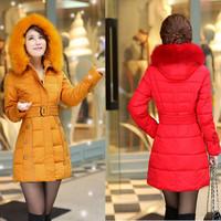 Winter long women coats Slim down jacket detachable fur collar Thicken Warm Hooded Woman's Outerwear Plus size XL-5XL Q180