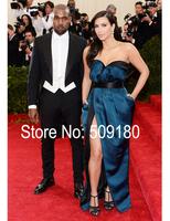 Sexy high quality blue sweetheart floor length custom made formal celebrity dress design JO9943 kim kardashian dresses celebrity