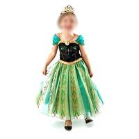 Frozen Children Princess Anna Costumes Girl's Strapless Skirt Organza Show Off-The-Shoulder Convertible Evening Dress Kids Gift