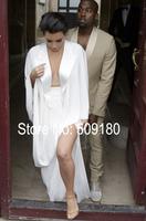 Sexy high quality white side slit floor length custom made formal celebrity dress design JO9945 kim kardashian inspired dress
