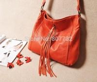 High Quality Brand Fashion Women Shoulder Bag With Tassel Orange Color 32*7*30cm PU