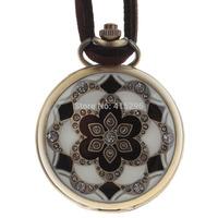 Free Shipping/Retro Round Style Unisex Necklace Analog Quartz Pocket Watch - Bronze + Black + White (1 x 377S) 245154
