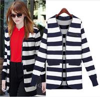 2014 New Fashion Casual Winter Women Sweater Knitted Blue Stripe women long Cardigans Women Long Warm Sweater free shipping