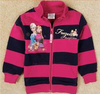 Free shipping NWT 5pcs/lot 18m~6Y children girl rose & black stripe frozen Elsa & Anna princesses outwear/ spring/ autumn coat