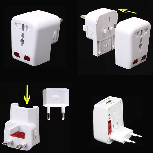 Universal Travel Adapter AC Power Converter w/ USB Port AU/UK/US/EU Plug With Bulit-in USB Connector International(China (Mainland))
