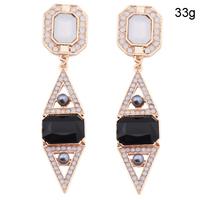 Big Star ! Statement Square Rhombus Pearl Bohemian Gemstone Earrings Jewelry For Women  Wholesale               brincos grandes