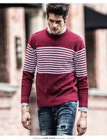 2014 autumn winters joker popular men's sweaters spell color stripe jacquard collar turtleneck sweater