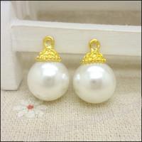 40 pcs high quality alloy accessories pearl  earphones short design necklace diy handmade