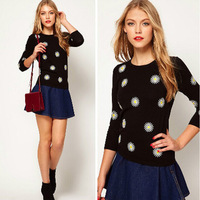 Woman Fashion Sweater Lady Winter Pullover O-neck Christmas Cute and Casual M,L Thin Wool D284 New arrival