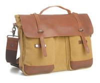 2014 New Canvas Bag fashion vintage handbag men briefcase canvas bag & genuine leather free shipping