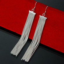 Super Sale 1piece Free Shipping vintage tassel long Dangle Earrings 925 Silver Earrings for women fashion jewely wholesale EH059