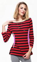 2014 Brand 100% Cotton Striped Long Sleeve Shirts Tops New Women's Leisure O-Neck Shirt