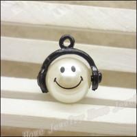 30 pcs high quality alloy accessories Black  Smile  pearl  earphones short design necklace diy handmade