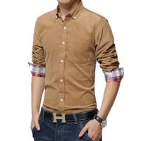 Hot sale free shipping men shirt long sleeve slim fit corduroy shirts for man 7 colors M L XL XXL XXXL