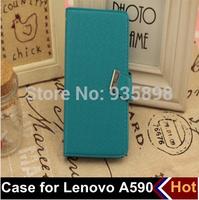 2 pcs/lot 5 colors free shipping Lenovo A590 case, mobile phone case bag, leather bag for Lenovo A590