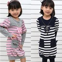 Girls Fall cute pink striped long-sleeved dress