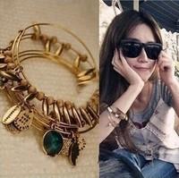Free shipping 2014 Letter bracelet gold chain rhinestone bangles designer jewelry High quality