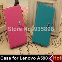 5 colors free shipping Lenovo A590 case, mobile phone case bag, leather case for Lenovo A590