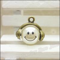 35 pcs high quality alloy accessories Antique Bronze Smile  pearl  earphones short design necklace diy handmade