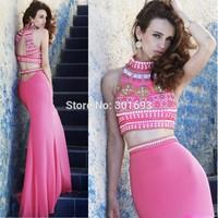 ONE173 Stretch Jersey Jewel Beaded Sexy Two Piece Evening Dress