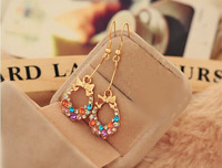 Fashion Korean Bowknot Bow  Style mixed color Gold Plated  Crystal Rhinestone women Dangle Earring jewelry