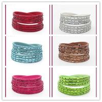 2014 new 10pcs/lot velvet mix diff color handmade Rectangular Rhinestone Bling Crystal Fashion slake Wrap leather Bracelet