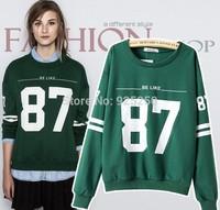 new clothing fashion 2014 autumn winter women cotton green pullover long sleeve letter print vintage hoodie sweatshirt