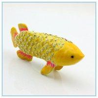 New Metal alloyed diamond fish shape Jewelry trinket box  jewelry Storage box SCJ234