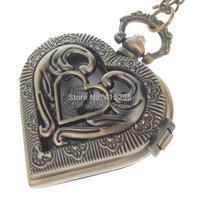 Love Heart Style Retro Elegant Quartz Analog Women's Pocket Watch w/ Necklace Chain - Bronze Free Shipping 252381