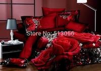 3D Red Rose comforter covers queen king size 4pcs girl flower bedding set duvet cover bed sheet bedclothes cotton textile