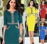 2014 Fashion Celeb Brand Women Vintage Knee-length Half sleeve V-Neck Lace Bodycon Party Pencil Dress 4 color Plus Size S-XXL