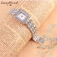 Brand New Elegant Hot Women's Wrist Watch Bracelet 925 Thai Silver Watches Quartz Watch Relogio Black & White to choose 1069S