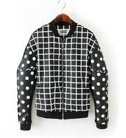 2014 New Fashion DAZZLE Women Faux Leather Jacket Plaid Dot Patchwork Female Coats Baseball Uniform Trench Free Shipping 31244
