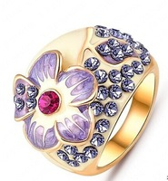 (2PCS/LOT)Elegant Crystal   Ring 18K Gold Plated Made with Genuine Austrian Crystals Full Sizes Wholesale
