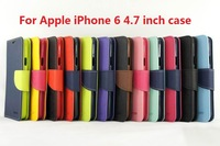 100PCS/LOT Mercury Leather Case For iphone 6 6S Diary mercury Stand Wallet Cover With Card Slot Holders Flip for iphone6