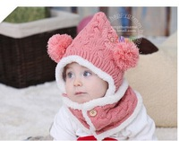 Winter baby hat two sets of double caddy baby bib plus velvet ear cap for men and women