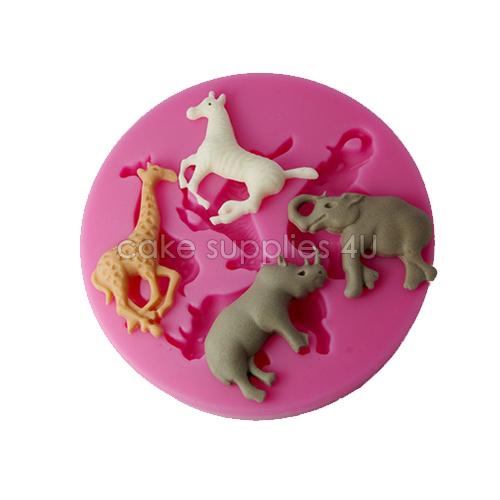 Veado cavalo elephent Design Fondant Silicone molde do bolo 3D Whild em forma de animais moldes para o bolo decorações Silicone moldes da arte do(China (Mainland))