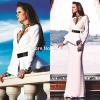 ONE182 Chiffon Gold and White Elegant Long Sleeve Evening Dresses from Dubai