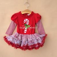 girl dress Merry Christmas Girls clothing ! Girl's  striped patchwork long sleeve dress  lace tutu veil cake dress   ETJ-Q0190