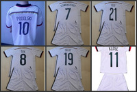 2014 REUS GOTZE SCHWEINSTEIGER OZIL PODOLSKI white kids soccer jerseys kit youth Child boy football uniform custom free